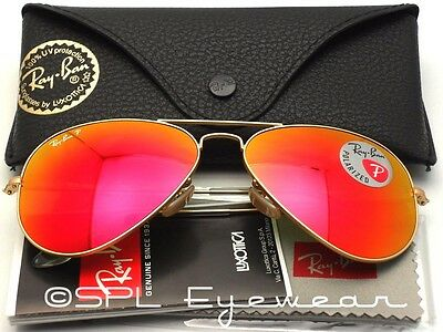 Ray Ban Aviator RB 3025 112/4D Red Mirror POLARIZED 58 mm Authentic Pick Case!