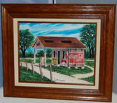 Mixed Media Collage Rural Landscape Gas Station Coke Sign - Creative Galleries