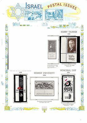 4 pages of Mint MNH Israel Stamps from 1975 - various issues p124-127