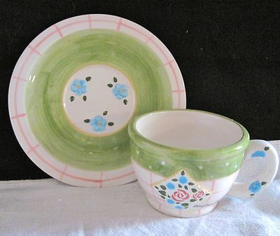 1998 Mary Engelbreit Ink Enesco Cup & Saucer, Green with Blue Flowers Plate Mug