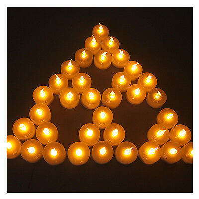 24 Lot LED Battery-Operated Flameless Amber Yellow Tea Light Candle with Timer