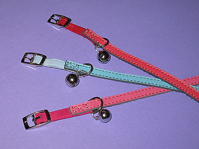 Pink, Blue & Red Plain Leather Cat Safety Collars - 30cm