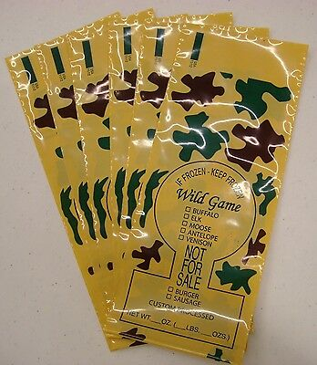 Camo Print Wild Game Ground Meat Freezer Chub Bags 1Lb 200 Count Free Shipping