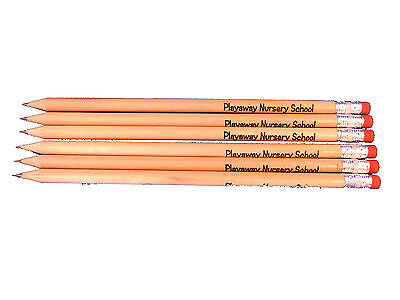 50 Hb Eraser Tipped Pencils Personalised - Ink Printed- You Choose Colour