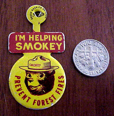 VINTAGE 1960's SMOKEY BEAR TIN METAL GREEN DUCK CO PREVENT FOREST FIRES TAB/PIN