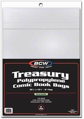 500 BCW Treasury Comic Book Resealable Poly Bags + Acid Free Backer Boards