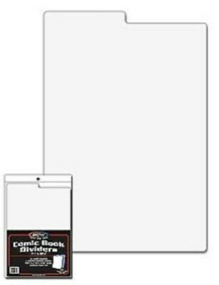 Lot of 100 BCW Tabbed White Plastic Comic Book Box Dividers - 7 1/4 X 10 3/4