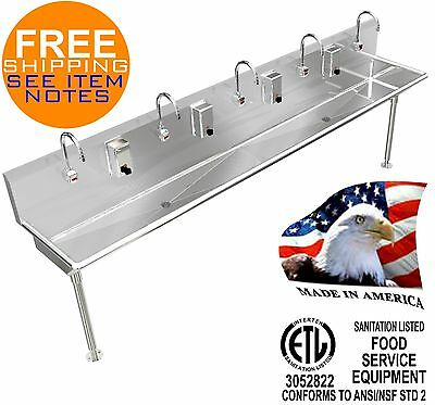 "Hand Sink 108""=9' Hd Stainless Steel Automatic Faucet 5 Users / 2 Drains 2"" Npt"