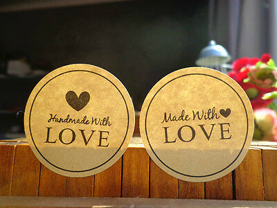 Handmade/Made with Love Wedding Stickers/Seals Natural Round~*~Choose Quantity*~