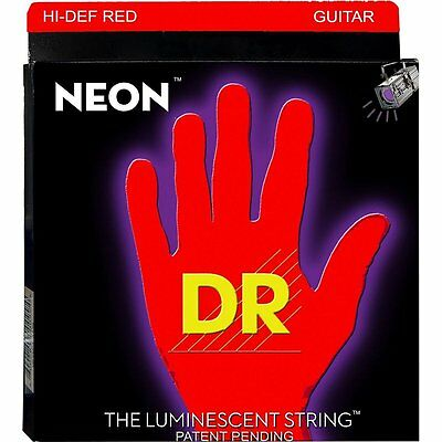 DR Strings NRE-10 Neon Red Coated Medium Black Light Electric Guitar 10-46