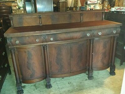 Huge 1800s Flamed Mahogany Empire Buffet W/ Claw Feet, Hidden Drawers, Beautiful