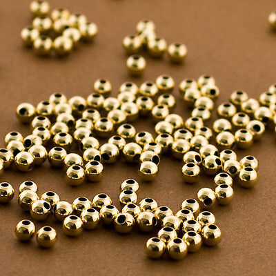50pc, Gold 3mm Beads.Gold Filled, Polished, Round. Spacers, Seamless, Tiny 14/20