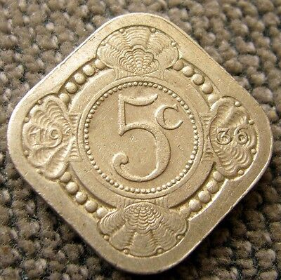 1936 Netherlands 5 Cent Coin Circulated