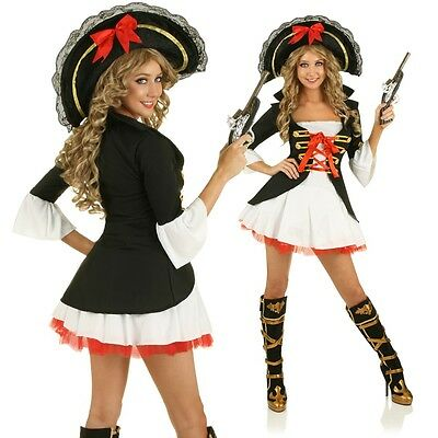 Ladies Caribbean Pirate Costume Wench Fancy Dress Party Outfit & Hat