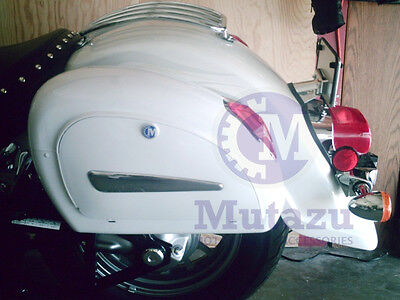 Mutazu White LN Universal Motorcycle Hard Bag Saddlebags with Mounting Brackets