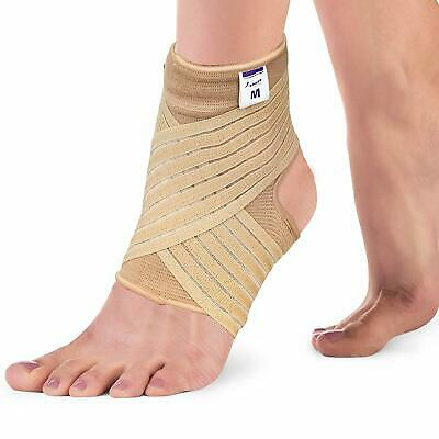 Breathable Ankle Support with Strap Wrap : Sports Foot Sprain Injury Black Beige