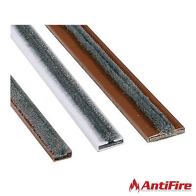 Intumescent Fire/Smoke Door Strip Seals - Single Door Set - White / Brown