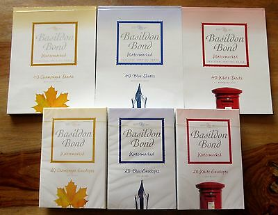 Basildon Bond Duke No.2 Matching Writing Paper & Envelopes Champagne Blue White