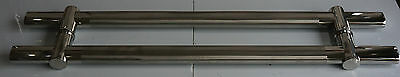 Commercial T Back to Back Pull Door Handle Guardsman Glass Chrome Brushed Steel