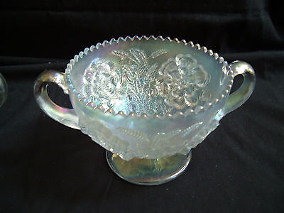 Vintage Dugan White Carnival Glass Compote Bon Bon ~ Floral and Wheat ~ Nice!