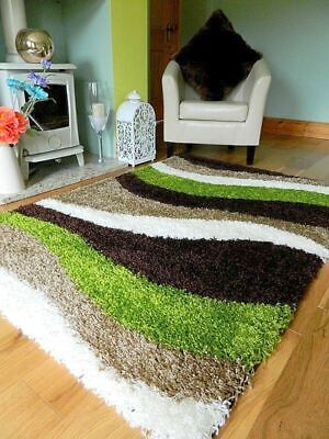 Small Xx Large Modern Green Beige Brown Cream Thick Soft Quality Shaggy Pile Rug