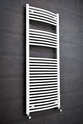 Contemporary Curved Heated Towel Rail Radiator 1500 x 600 - White
