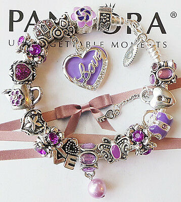 Authentic PANDORA Silver Charm Bracelet with Charms Beads Heart Love Purple