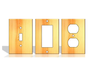 Pine Wood Pattern Light Switch Covers Home Decor Outlet - Made from Plastic
