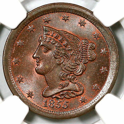 1855 C-1 NGC MS 64 BN CAC Braided Hair Half Cent Coin 1/2c