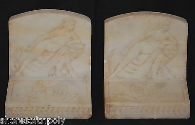 ANTIQUE HAND CARVED NUDE & LION~BOOKENDS ~SIGNED~ 19th C. - ART DECO ~ALABASTER