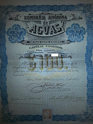 1896 San Luis Potosi Agua Bond  with Pass-Co Reports!