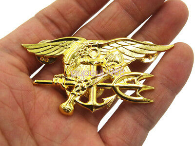 Military Us Navy Seal Eagle Anchor Trident Metal Insignia Badge Pin Golden