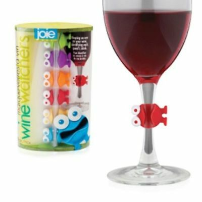 Wine Watchers Wine Charms 6 pc set - Glass Ring Markers - Mutiple Color Pack