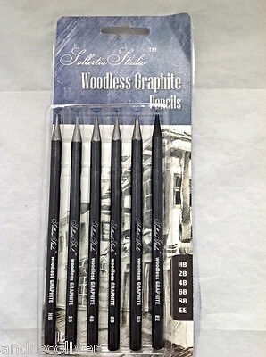 6 Pcs Woodless Graphite Pencils Sketch Artist Tin For Drawing Sketching Shading