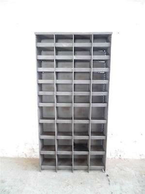 Vintage Industrial Stripped Steel Pigeon Holes Cabinet Chest Shelving Unit #1172