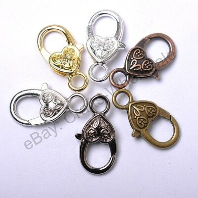10Pcs Gold Silver Plated Bronze Copper Floral Charms Heart Lobster Clasps 22MM