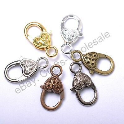 10Pcs Gold Silver Plated Bronze Copper & Dots & Charms Heart Lobster Clasps 22MM