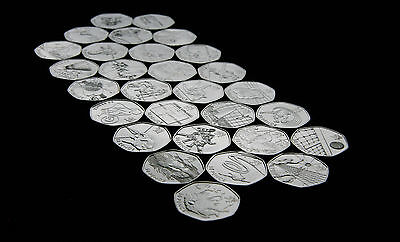 London Olympic 2012 50p fifty pence coins - judo triathlon football offside 2011