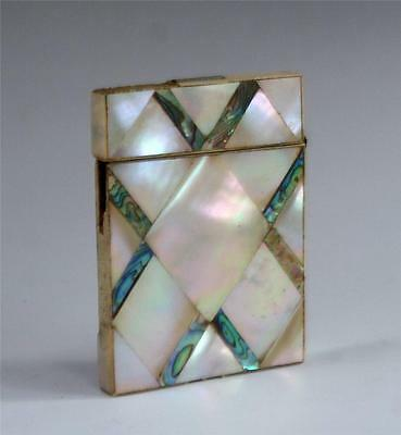 ANTIQUE 19TH CENTURY ABALONE SHELL CALLING CARD CASE