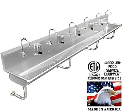"Hand Sink Stainless Steel 6 Users 132""=11'  Wash Up Hands Free (2) Drains 2"" Npt"