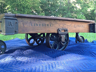 Antique Lineberry Factory Cart Railroad Industrial Coffee Table