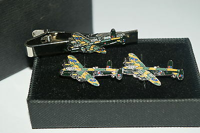 Lancaster Bomber Cufflinks & Tie Clip Set GIFT Boxed WW11 Aviation Aeroplane RAF