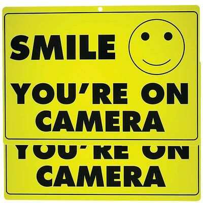 TWO (2) Smile You're on Camera Yellow  Security Sign CCTV Video Surveillance
