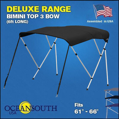 """3 Bow BIMINI TOP Boat Cover Black 61""""-66"""" With Rear Poles & Integrated Sock"""