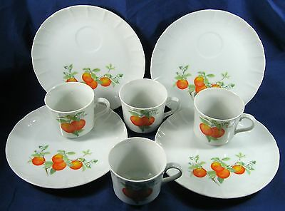 4~Mandarin Orange~Toscany Collection~Fine Snack Luncheon Set Plates & Cups~MINT