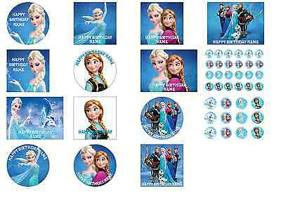 Personalised Frozen Anna Elsa  Birthday Cake Cupcakes Toppers A4/A3 up to 16inch