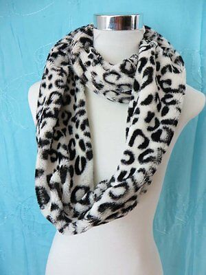 Thick warm animal print faux fur plush winter infinity fashion scarf