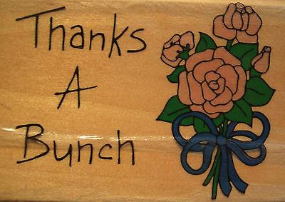 "Westwater Enterprises Wood Mounted Rubber Stamp- ""Thanks A Bunch""-Flower Bouquet"