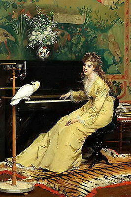 9x6 Art Print c19th Victorian Woman in Elegant Dress at Piano with Cockatoo Bird