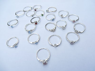 *US Seller*20 pcs wholesale rings clear cz crystal fashion rings